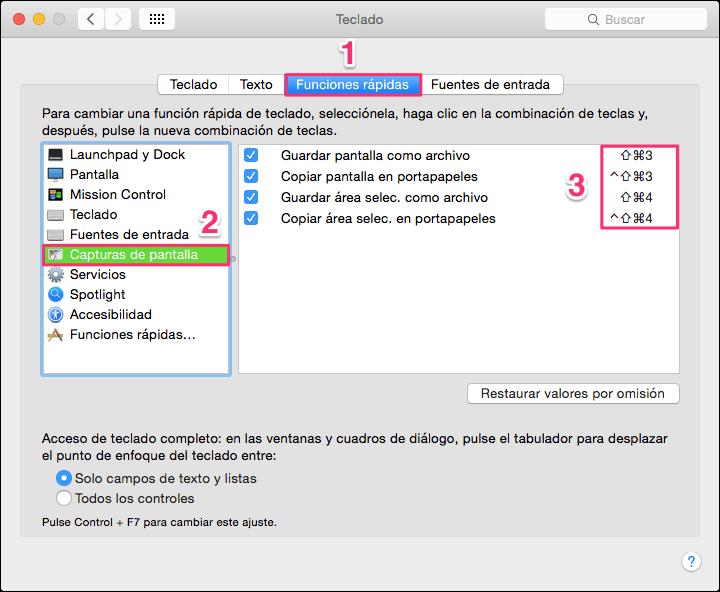Cambiar atajos teclado captura pantalla Mac