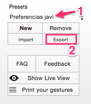 Exportar presets - Better Touch Tool