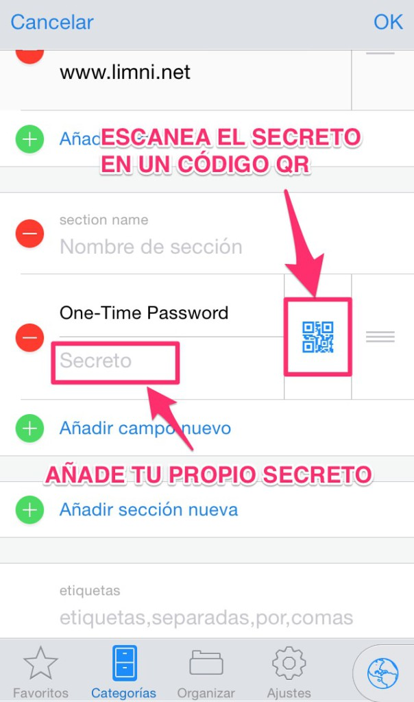 configurar TOTP en 1Password