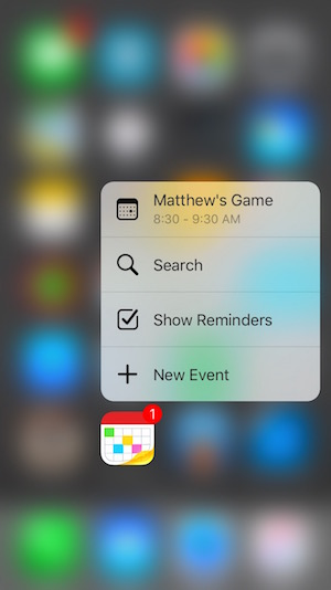 3D touch en Fantastical para iPhone