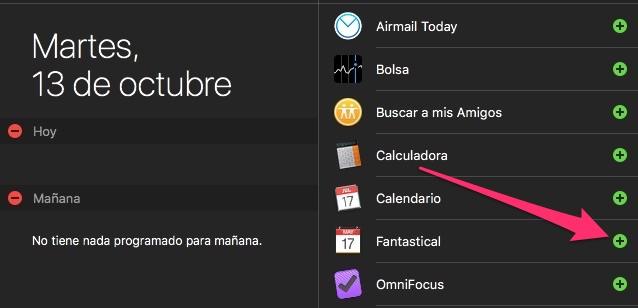 Cómo activar el widget de Fantastical en el centro de notificaciones
