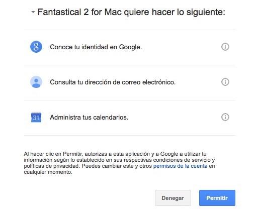 Aceptar los permisos de Gmail en Fantastical