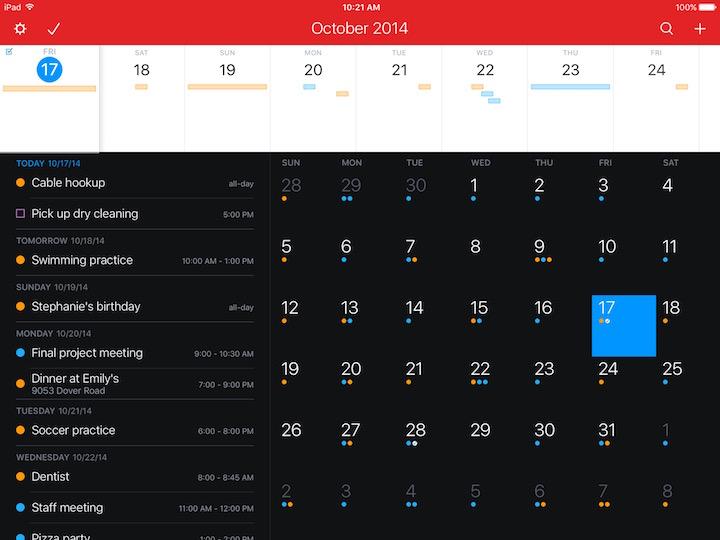 Fantastical iPad Day Ticker