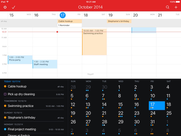 Fantastical iPad Vista Semanal