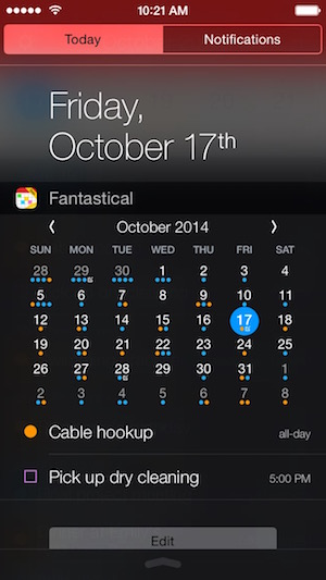 Fantastical iPhone Widget