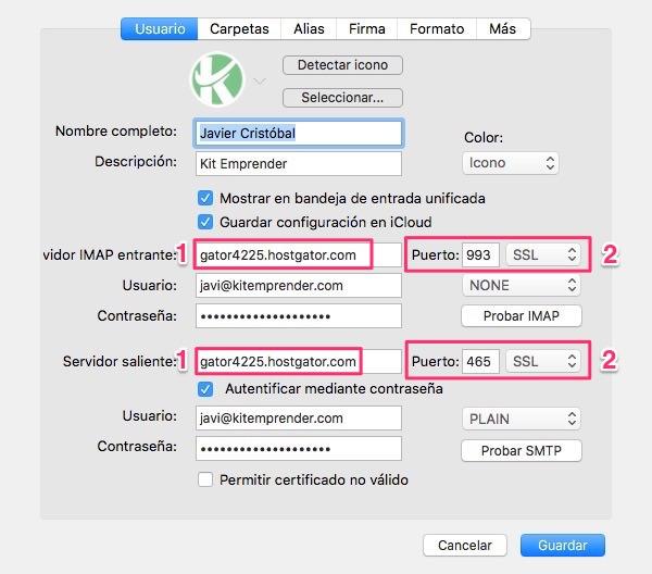 Airmail cuenta IMAP