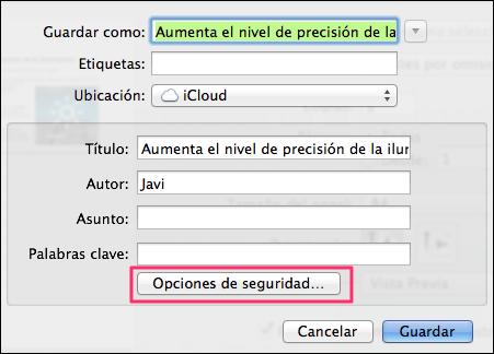 Opciones para proteger un PDF en Vista Previa