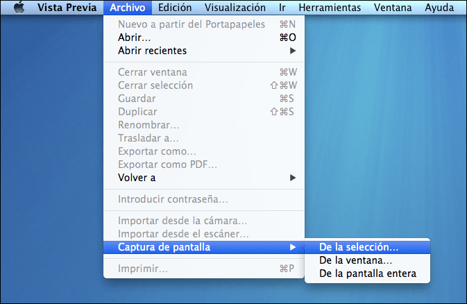 Captura pantalla con vista previa en Mac