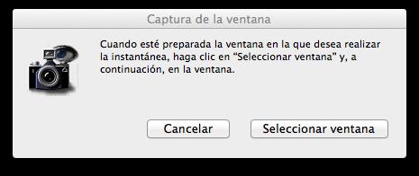 Capturar ventana en Mac coninstantánea - cuadro de diálogo