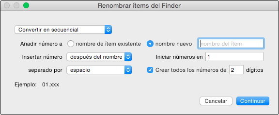 Opciones renombrar items del Finder