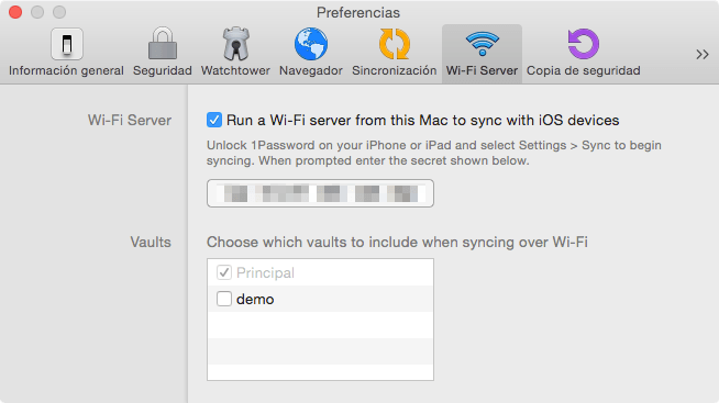 1Password - nueva ventana WiFi server