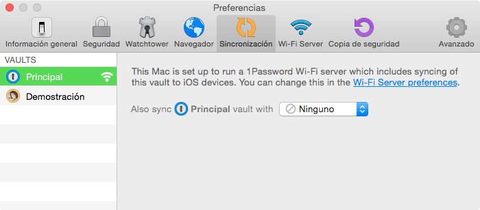 1Password - nueva ventana sincronización