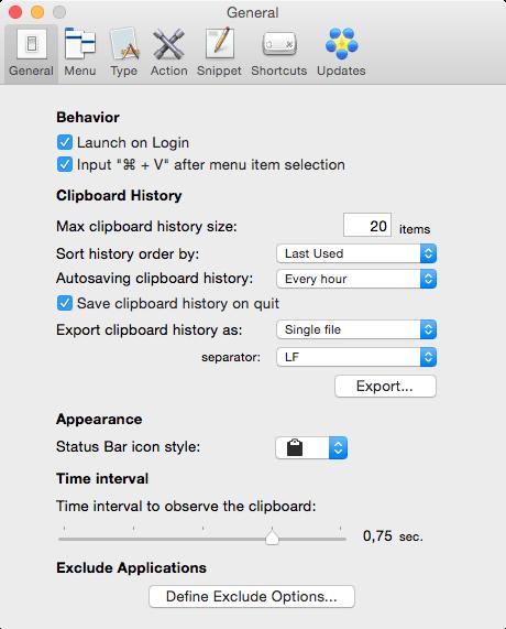 ClipMenu - Configuración general