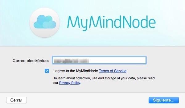 Crear cuenta en MindNode