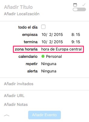 Evento zona horaria Fantastical
