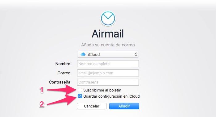 Configurar iCloud en Airmail